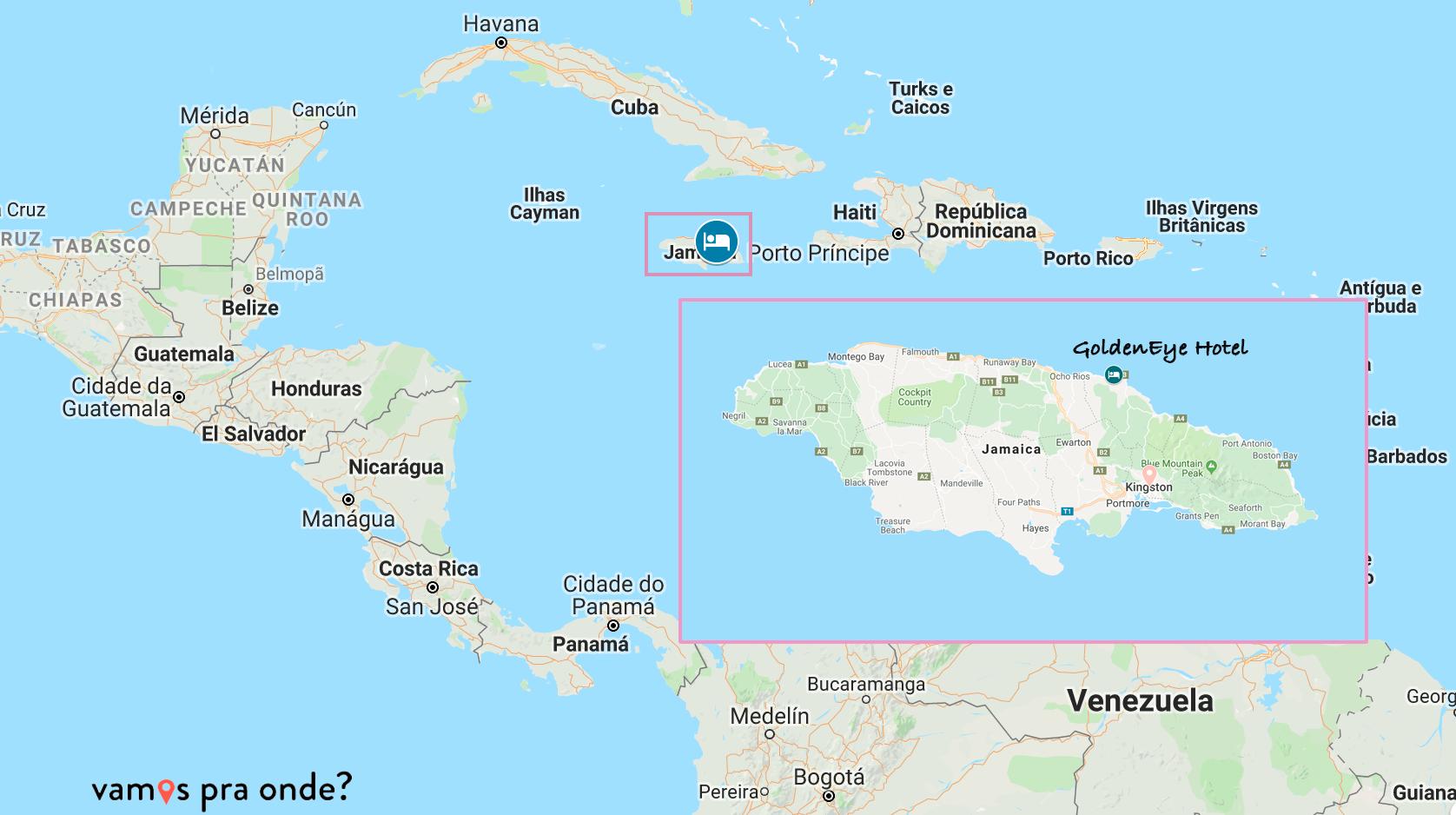 Jamaica no mapa
