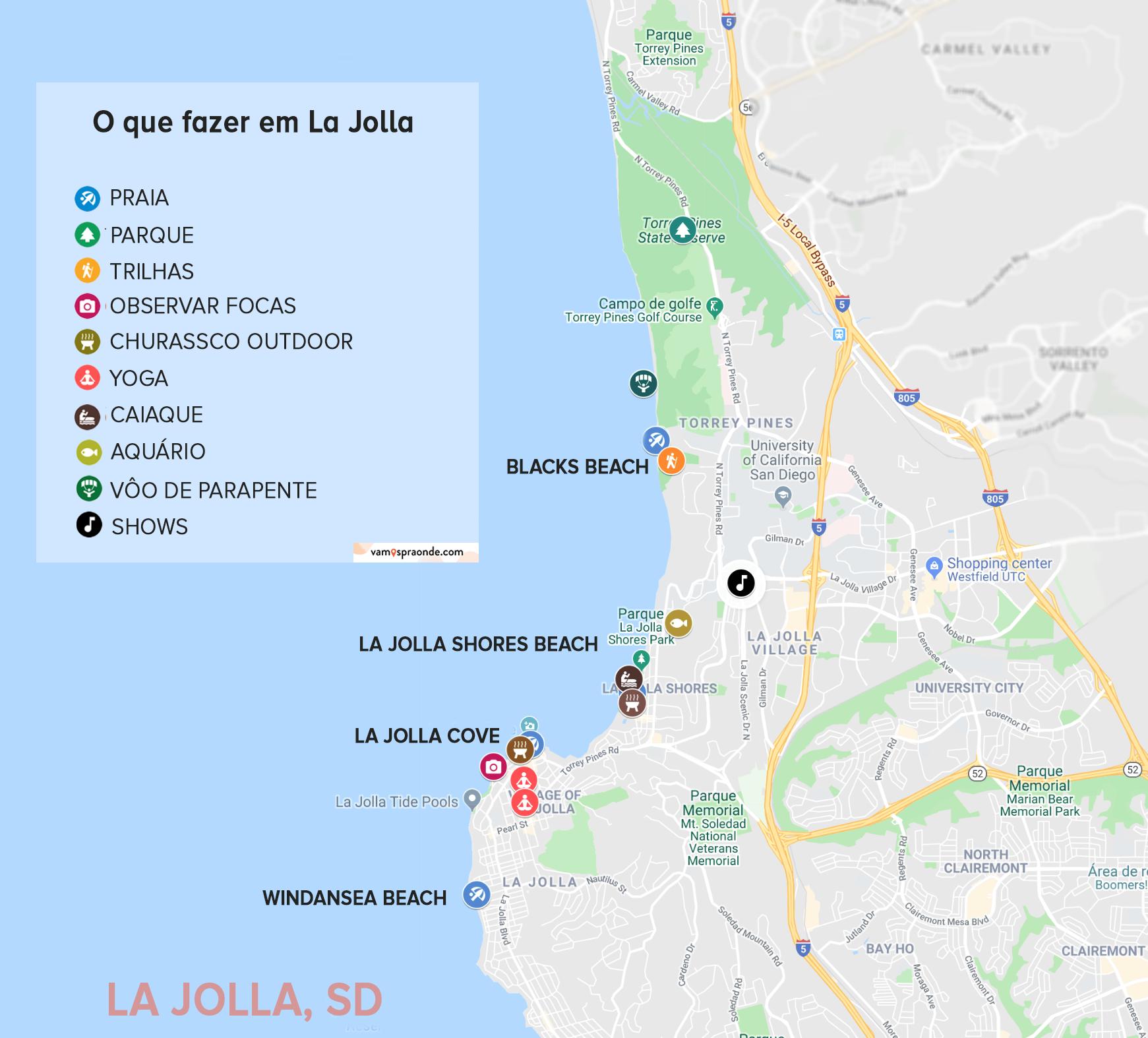 mapa mostrando onde estão as principais atrações de la jolla