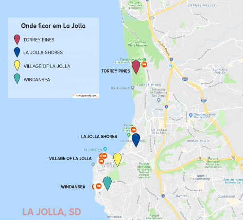 mapa mostrando onde ficar em la jolla