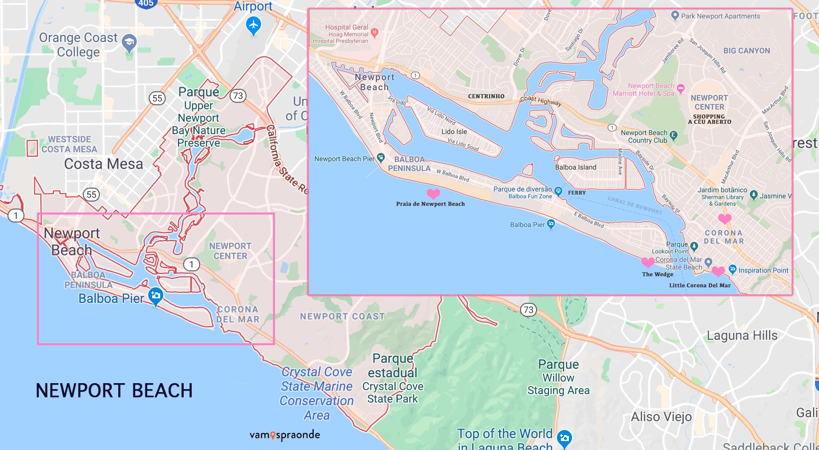 mapa de Newport Beach