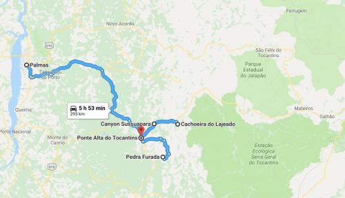 mapa do primeiro dia de roteiro no Jalapão