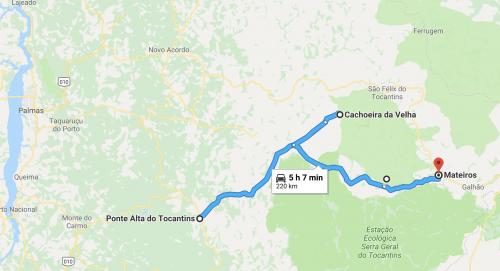 mapa do segundo dia de roteiro no Jalapão