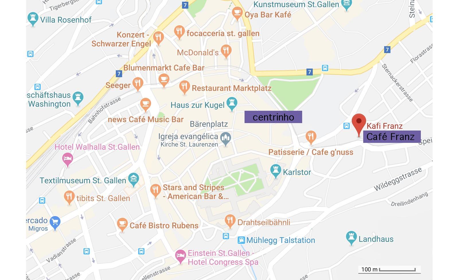 localização do cafe Franz em st gallen, suíça