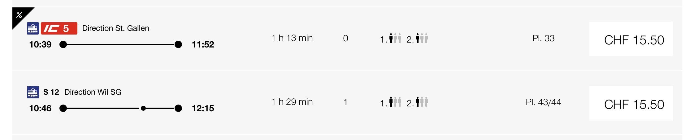 opções de trem de Zurich para st gallen