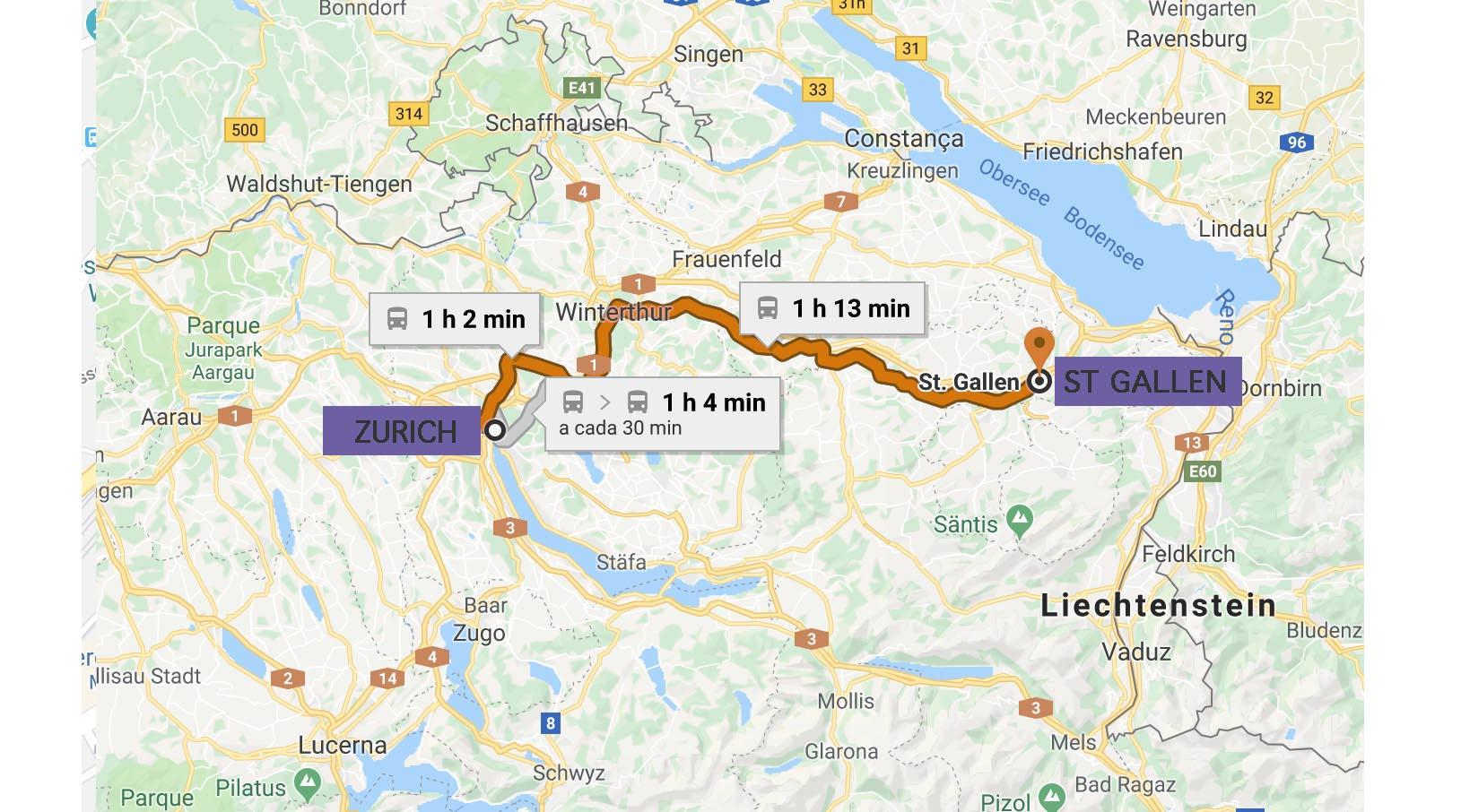 mapa de Zurich a st gallen