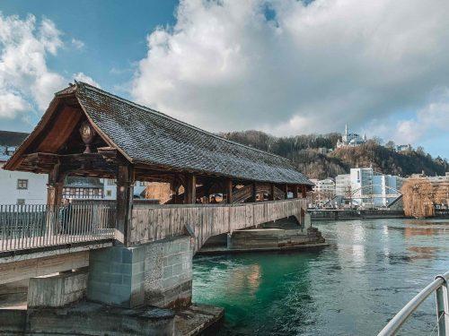 ponte Spreuerbrücke em Lucerna