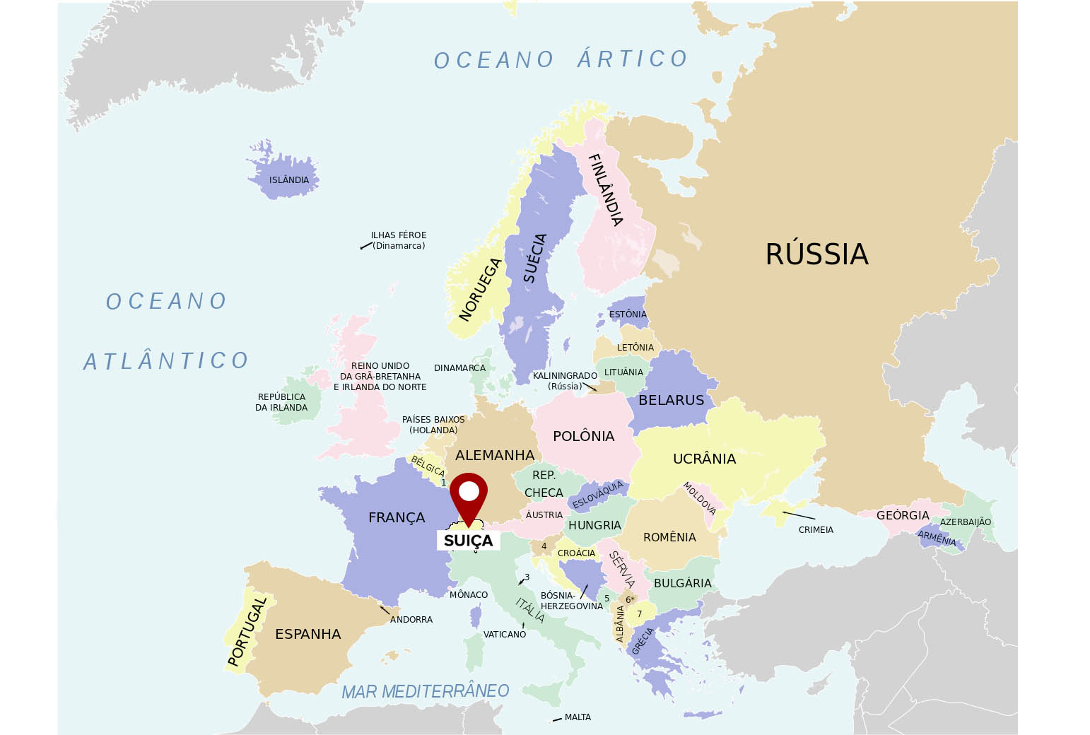 suíça no mapa