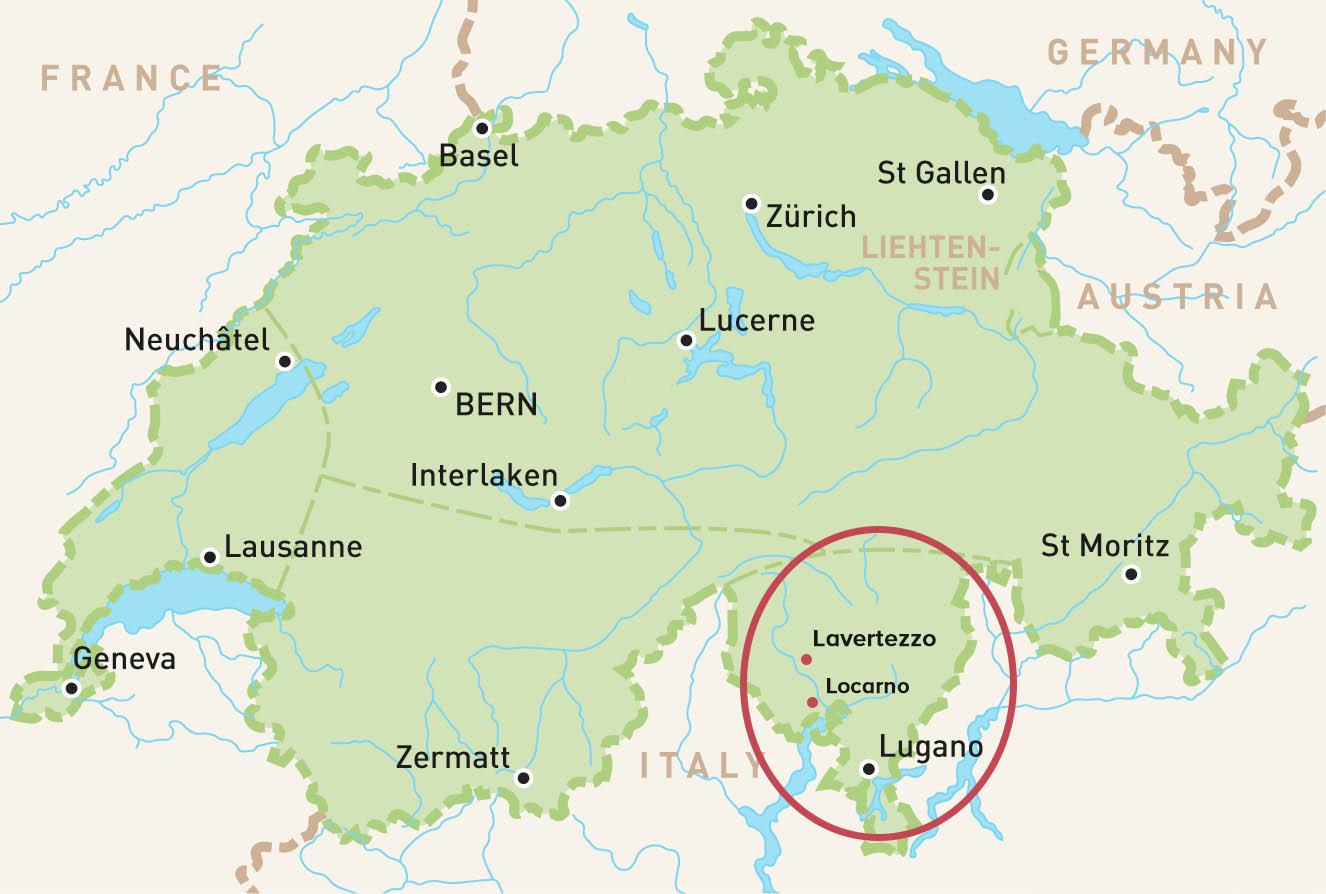 mapa mostrando a localização do Valle verzasca na suíça
