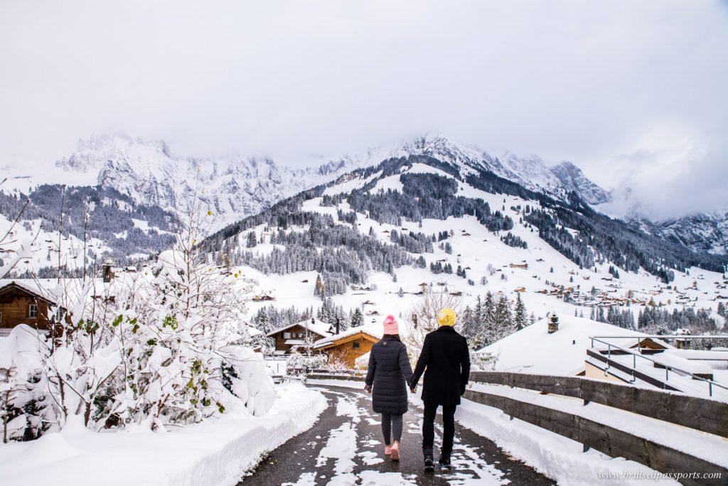vila de adelboden no inverno
