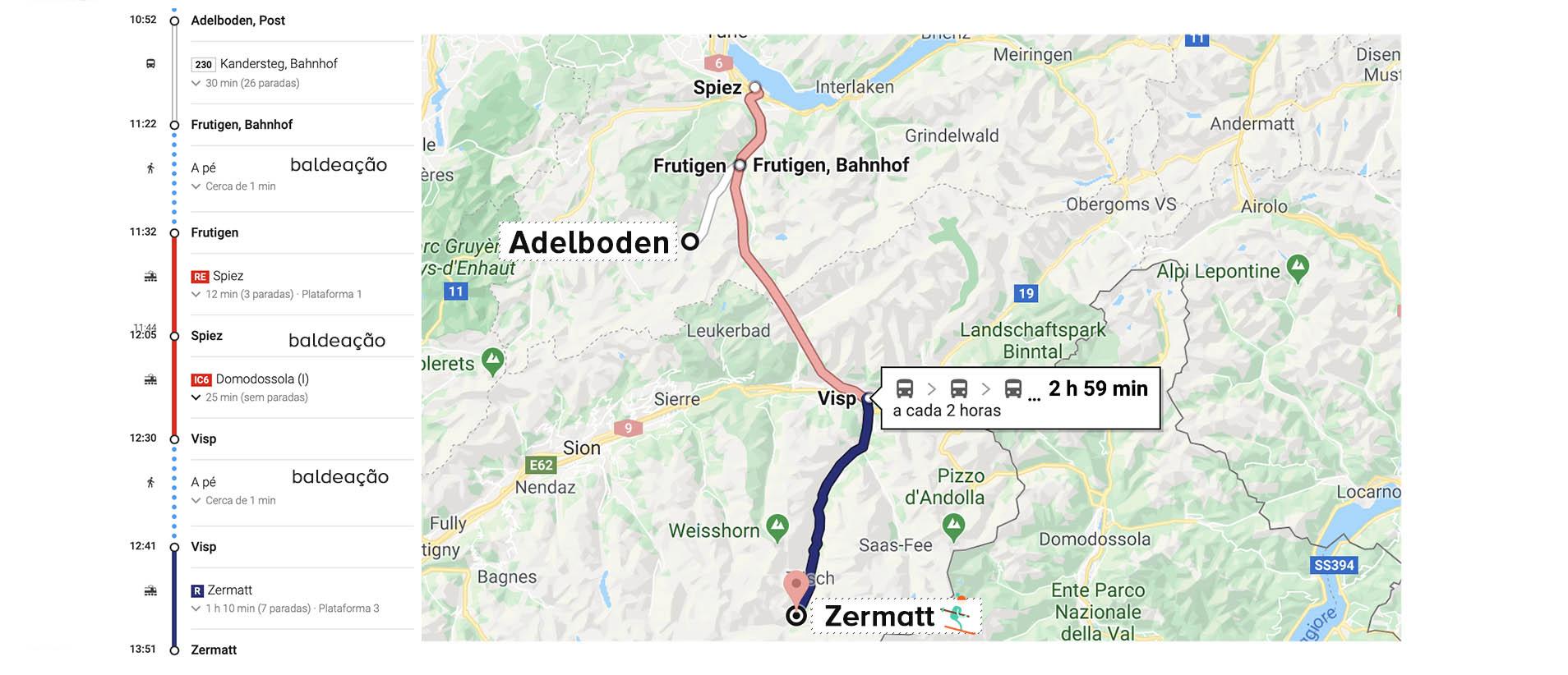 mapa de adelboden a zermatt no roteiro de inverno na Suíça