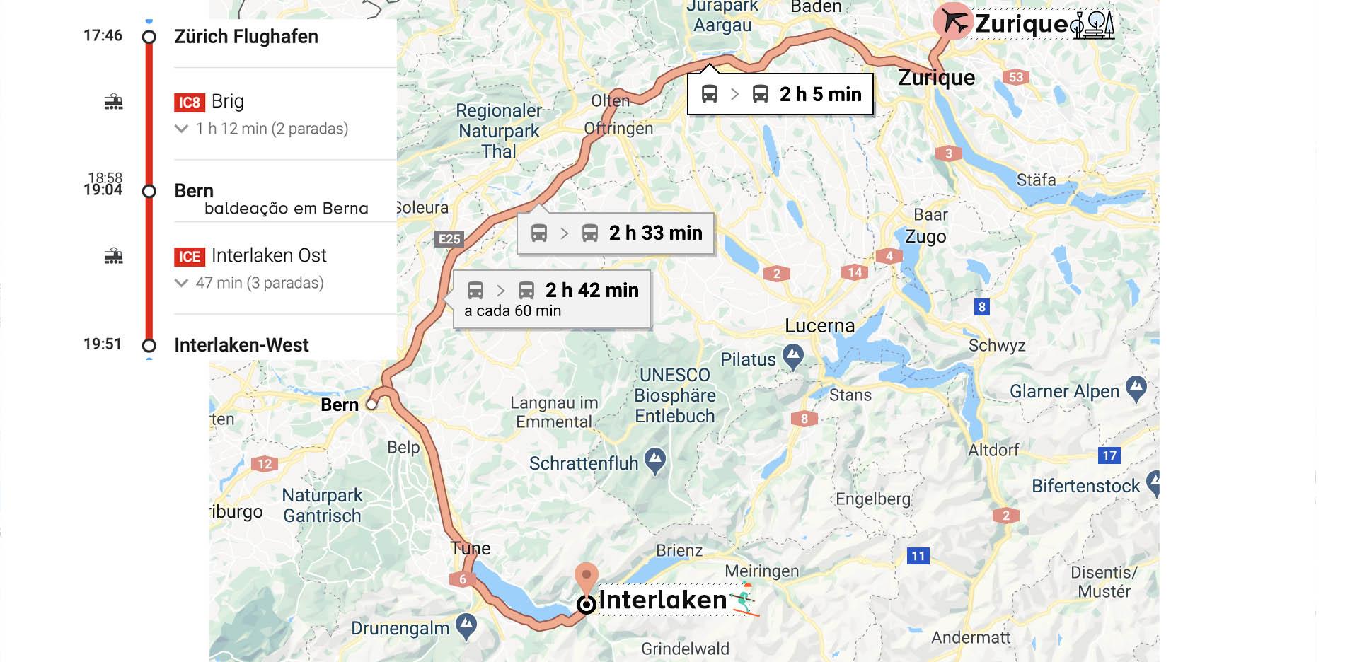 mapa de Zurich a interlaken no roteiro de inverno na Suíça