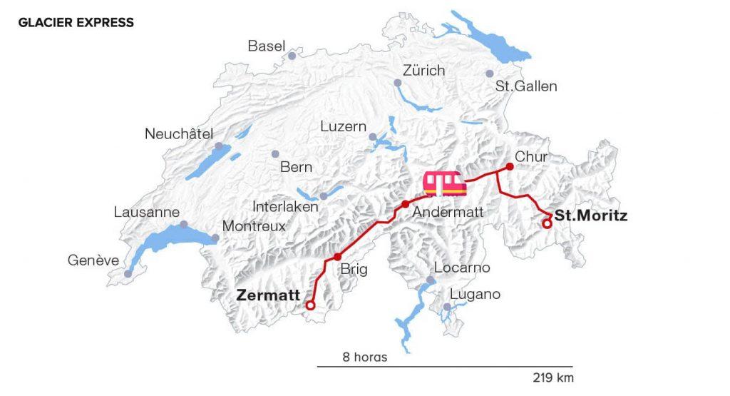 rota do Glacier Express na suíça