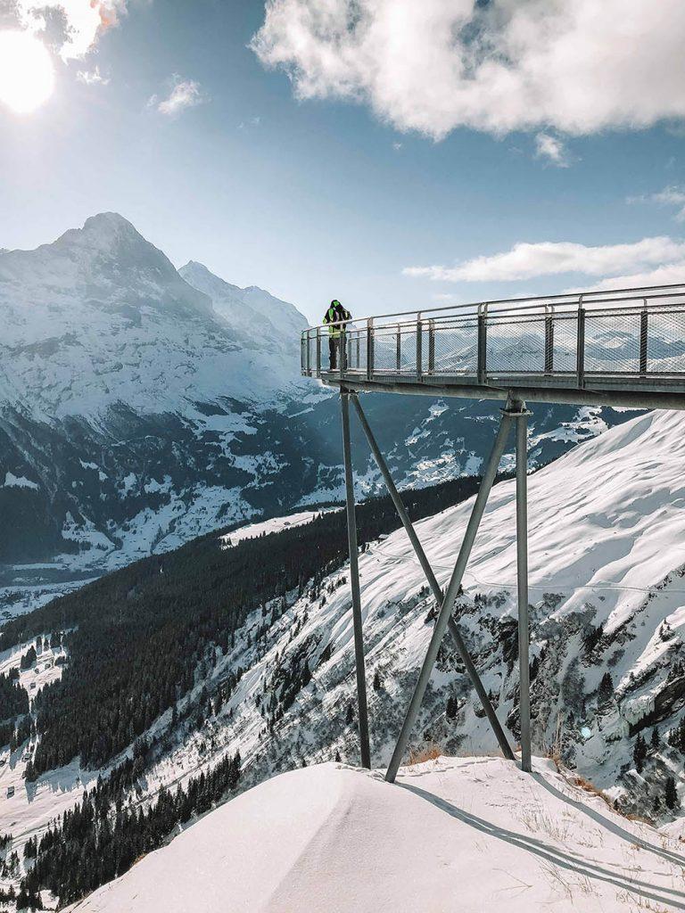 Cliffwalk grindelwald first na Suiça no inverno