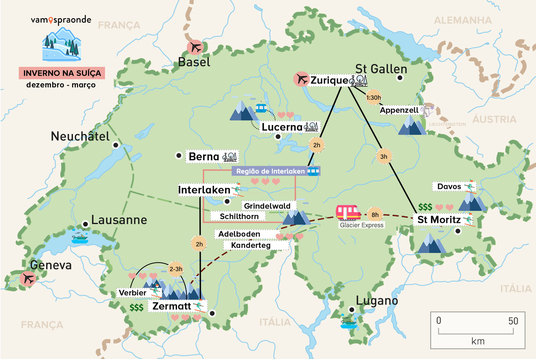 mapa indicando roteiro de inverno na suíça