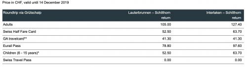 tabela de preços para Mount Schilthorn no inverno na suíça