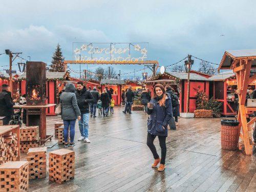 chuva no mercado de natal em zurich no inverno (dezembro)