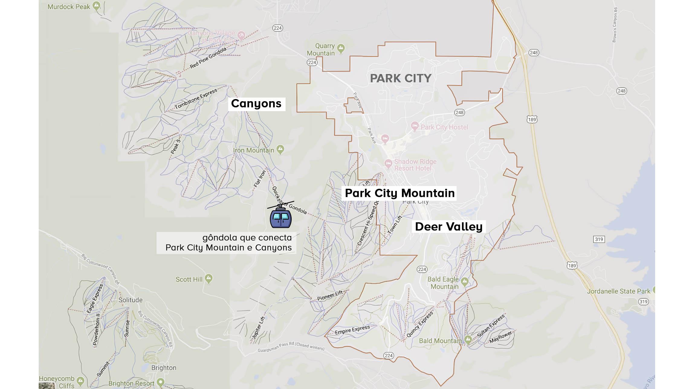 estações de ski de Park City indicadas no mapa