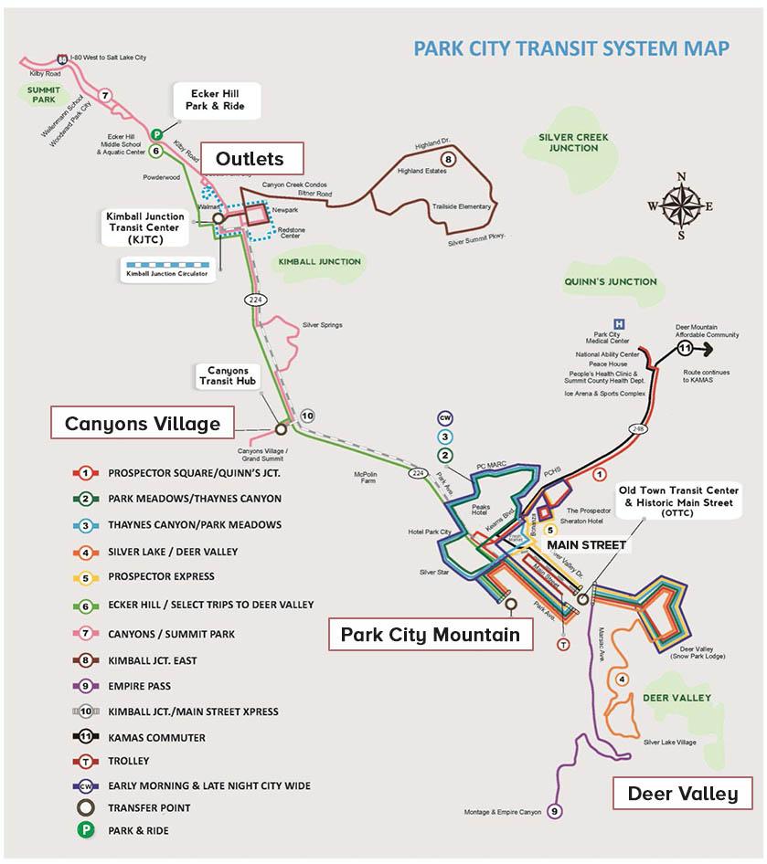 dicas park city: mapa do transporte publico
