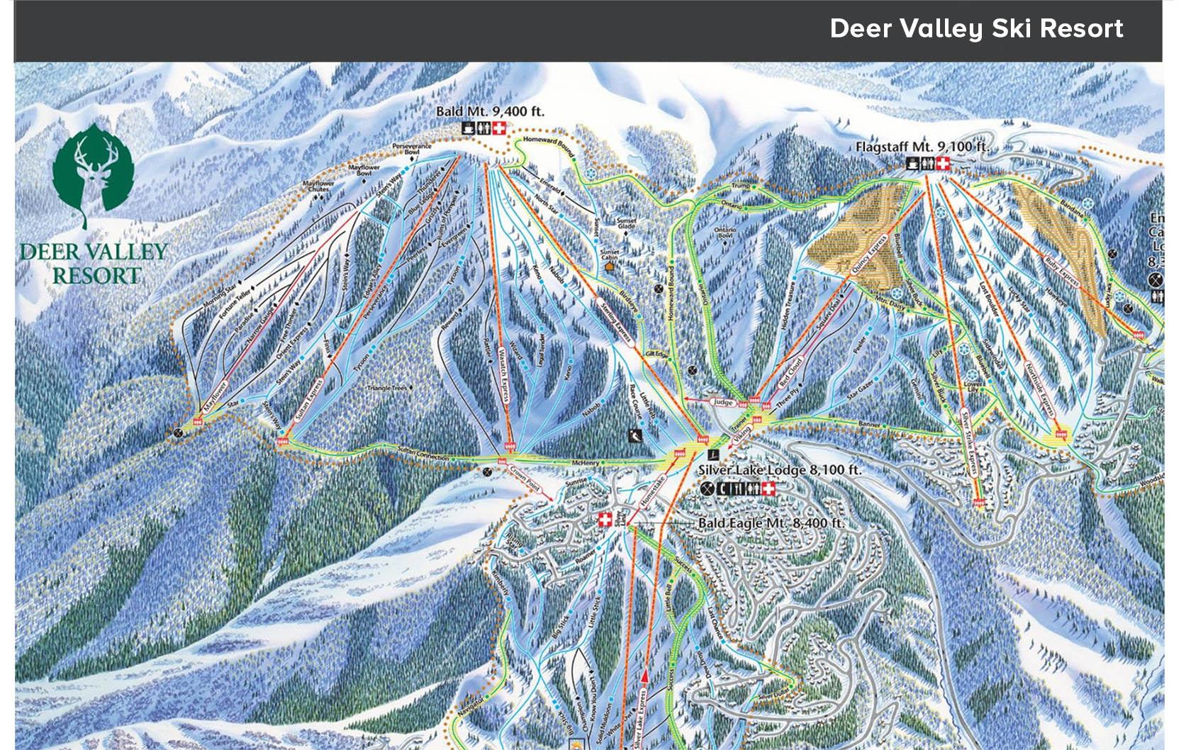 mapa Deer Valley ski resort