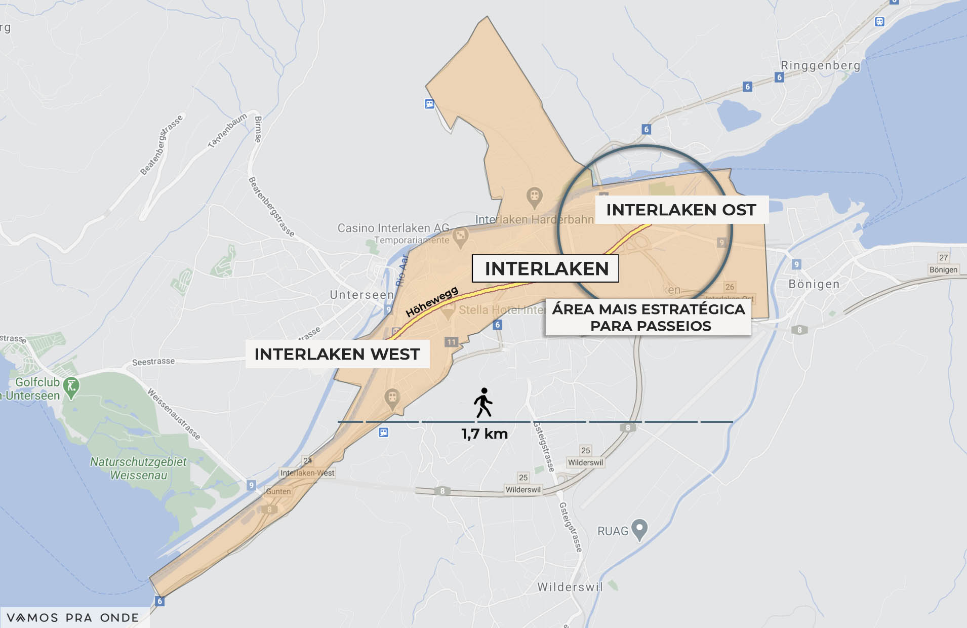 mapa indicando a melhor região para se hospedar em Interlaken