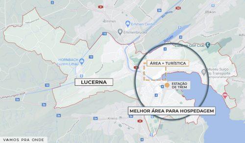 mapa indicando a melhor região para se hospedar em Lucerna