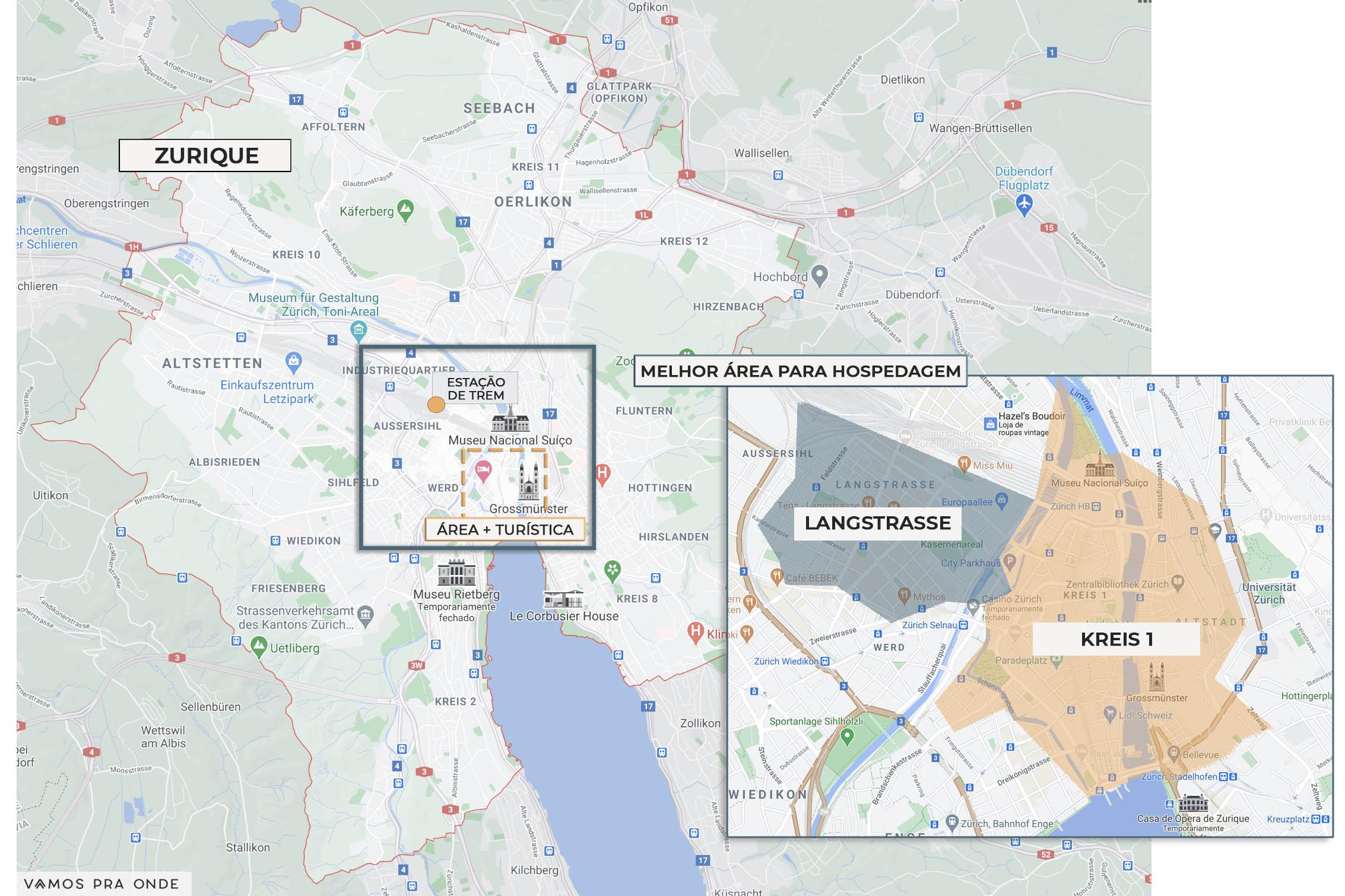mapa indicando a melhor região para se hospedar em Zurique