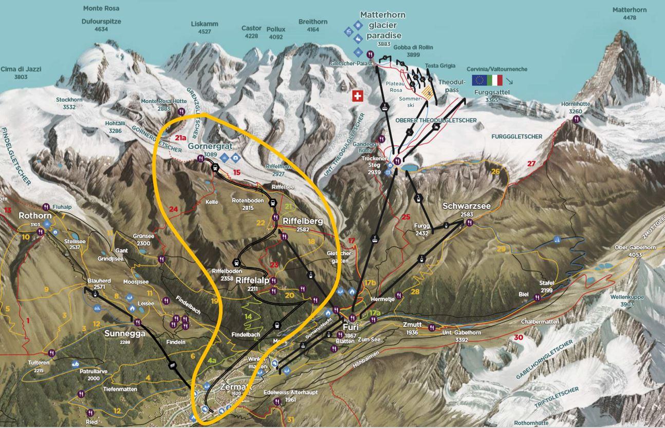 Mapa de Gornergrat em Zermatt