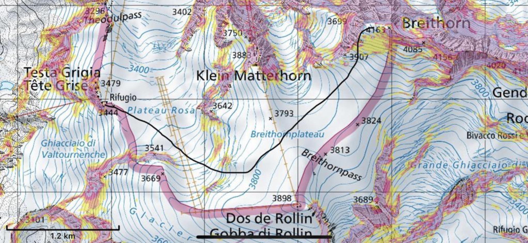 mapa do refúgio até breithorn