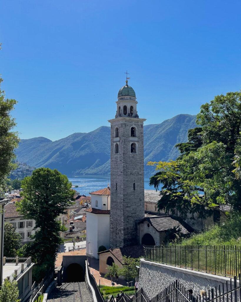 dia lindo em Lugano, durante o verão na Suíça